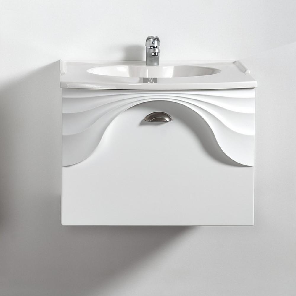 Szafka łazienkowa wisząca pod umywalkę lub blat Sanitti Asso 60 biała z uchwtem chrom mat