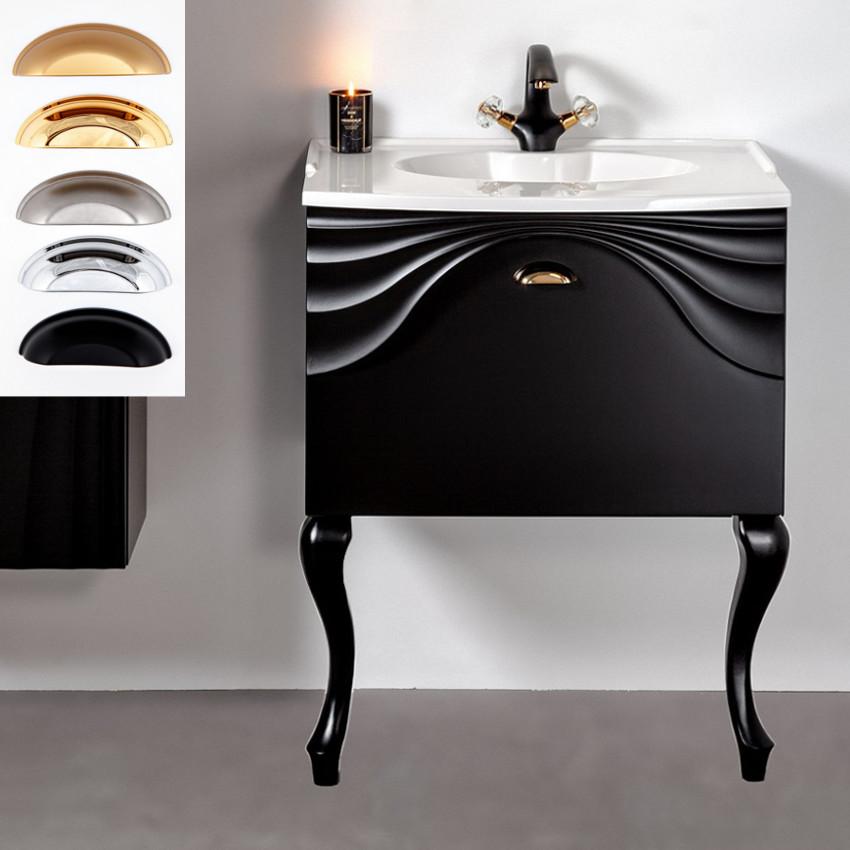 Czarna szafka łazienkowa Sanitti Asso 60 wisząca pod umywalkę lub blat, z nóżkami retro GNC