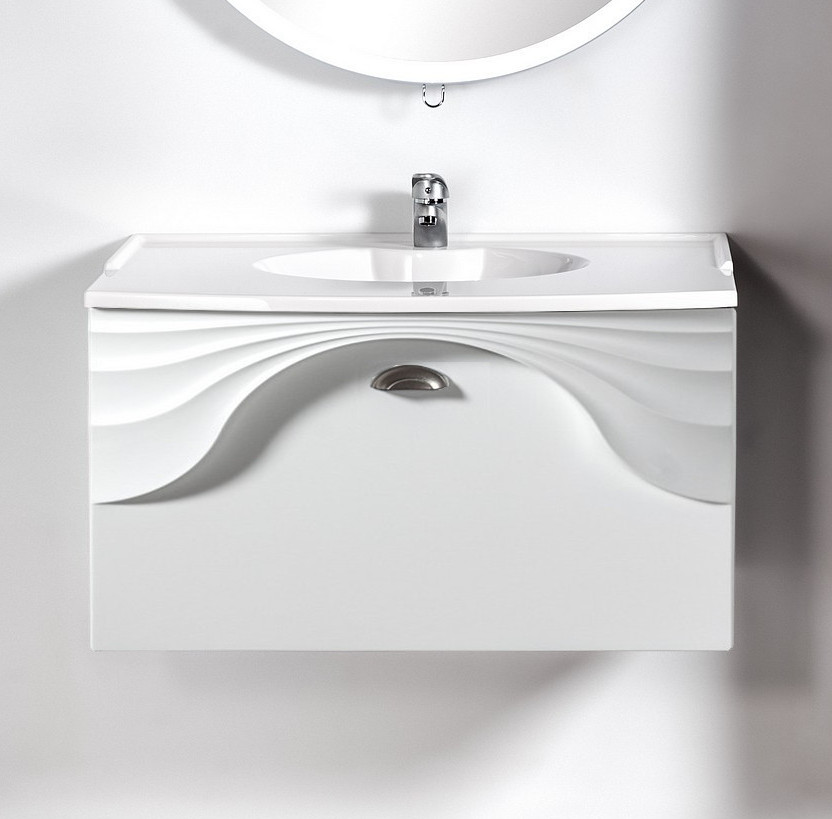 Szafka łazienkowa wisząca pod umywalkę lub blat Sanitti Asso 80 biała z uchwtem chrom mat
