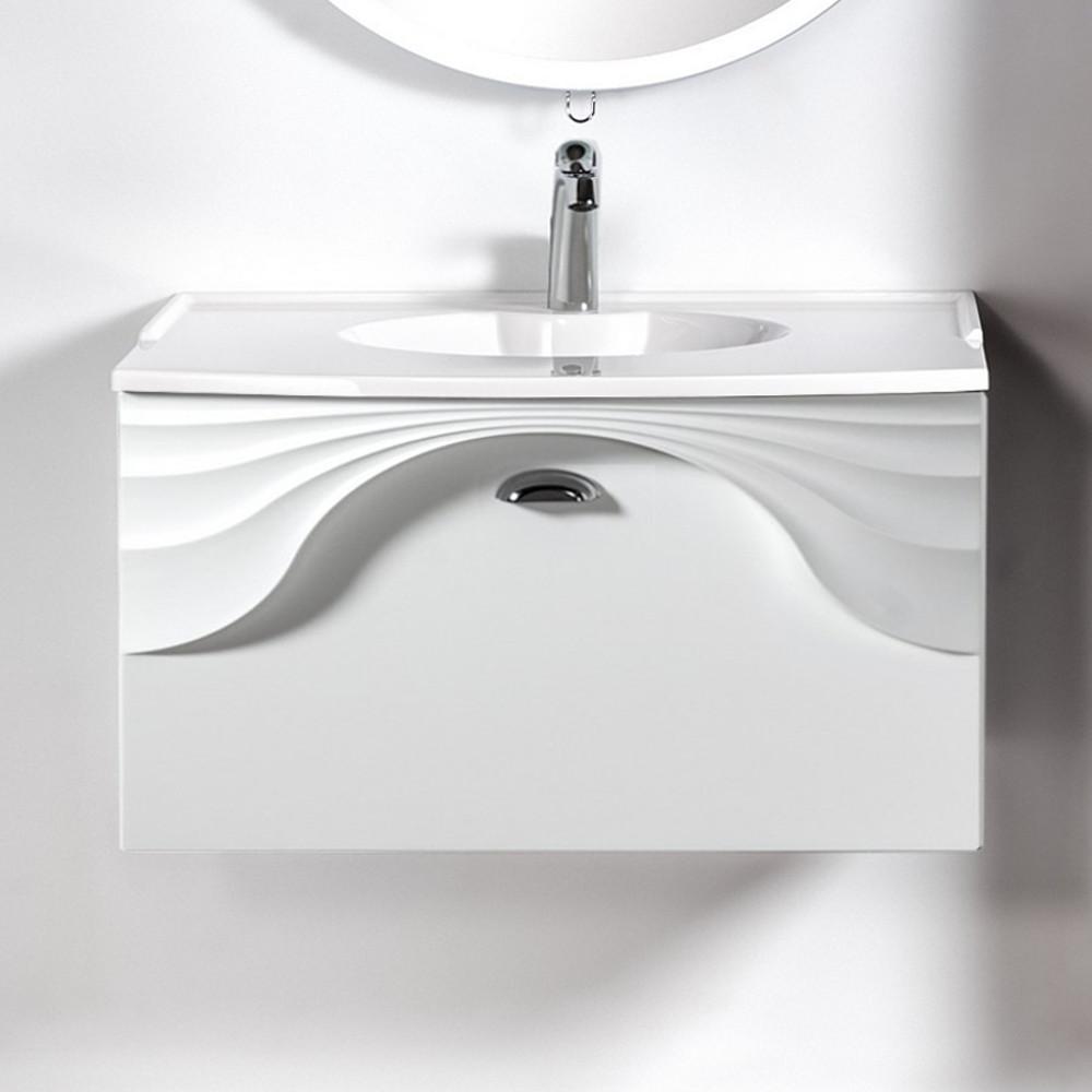 Szafka łazienkowa wisząca pod umywalkę lub blat Sanitti Asso 80 biała z uchwtem chrom połysk