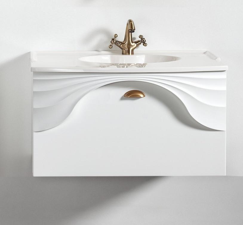 Szafka łazienkowa wisząca pod umywalkę lub blat Sanitti Asso 80 cm biała z uchwtem złoty mat
