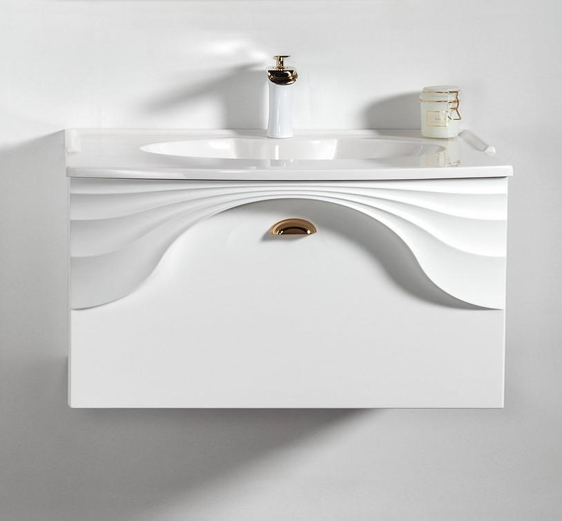 Szafka łazienkowa Sanitti Asso 80 biała z uchwtem złoty połysk wisząca pod umywalkę lub blat