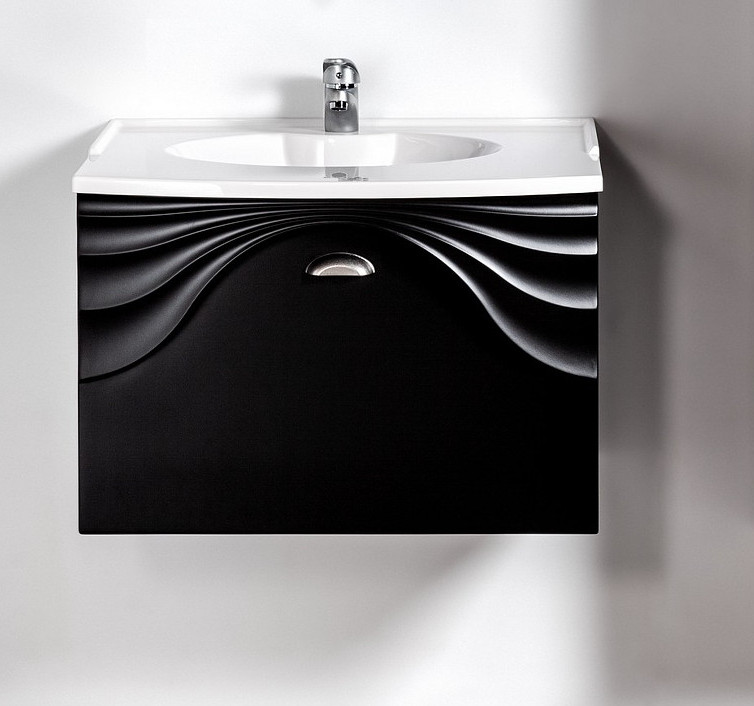 Szafka pod umywalkę lub blat Sanitti Asso 60 czarna z uchwtem chrom mat