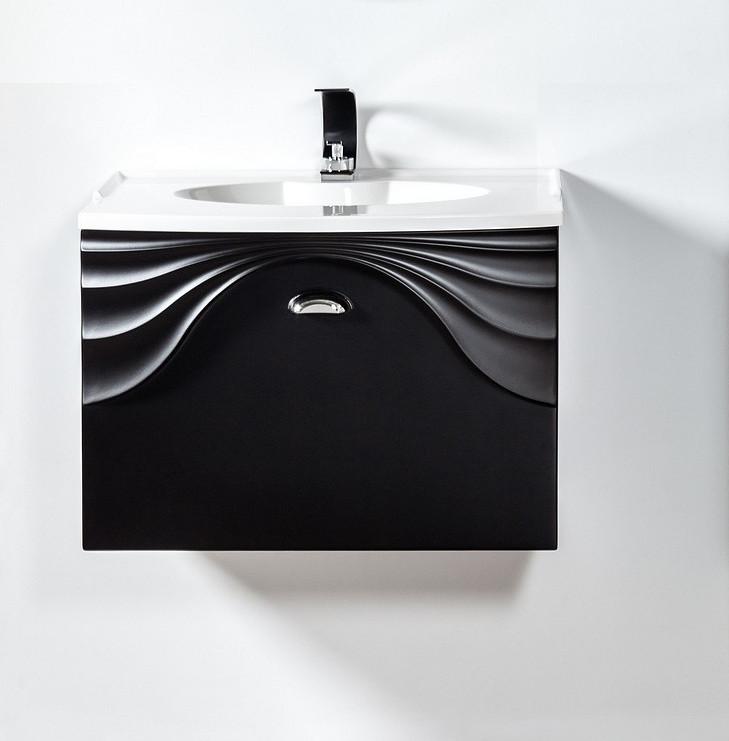 Szafka pod umywalkę lub blat Sanitti Asso 60 czarna z uchwtem chrom połysk