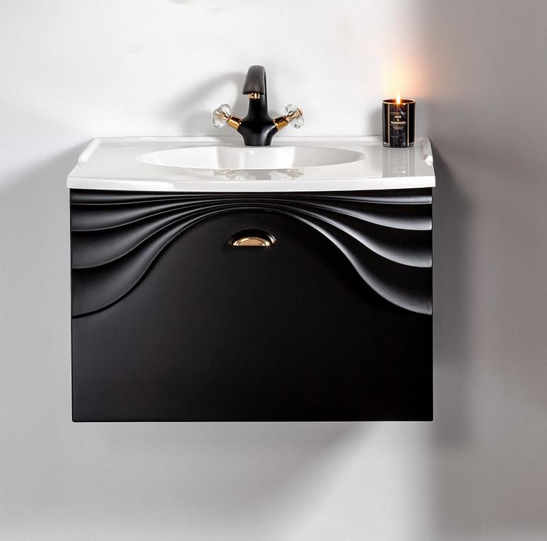 Szafka łazienkowa wisząca  Sanitti Asso 60 czarna z uchwtem złoty połysk pod umywalkę lub blat