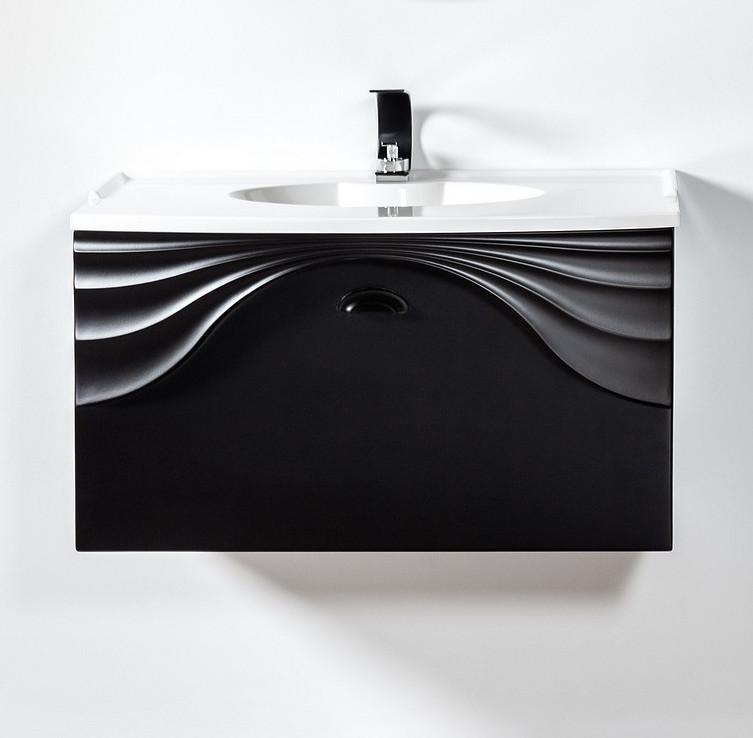 Szafka łazienkowa wisząca Sanitti Asso 80 cm czarna z uchwtem czarny mat pod umywalkę lub blat