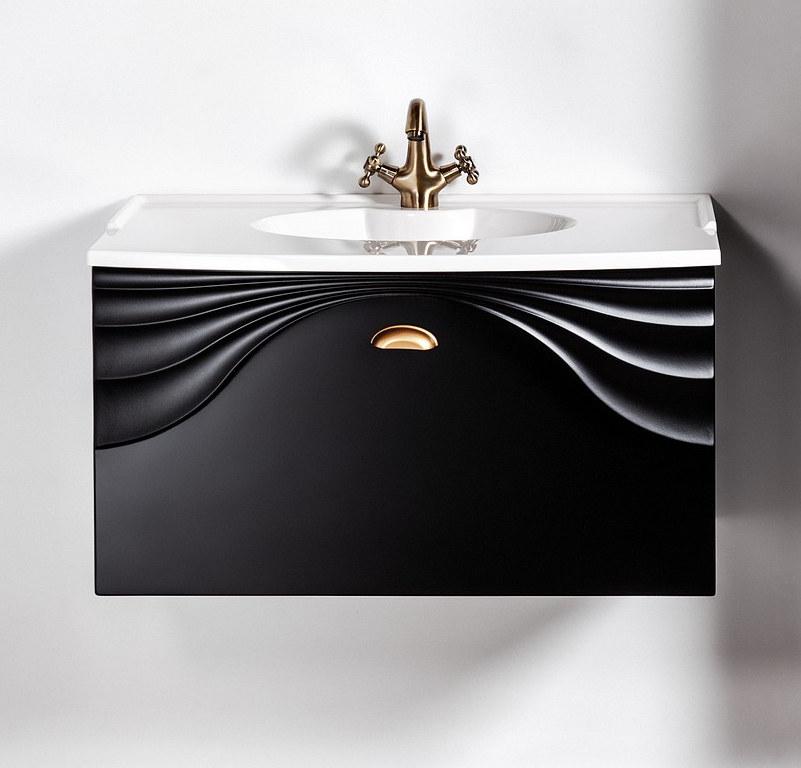 Czarna szafka łazienkowa z uchwtem złoty mat Sanitti Asso 80 wisząca pod umywalkę lub blat
