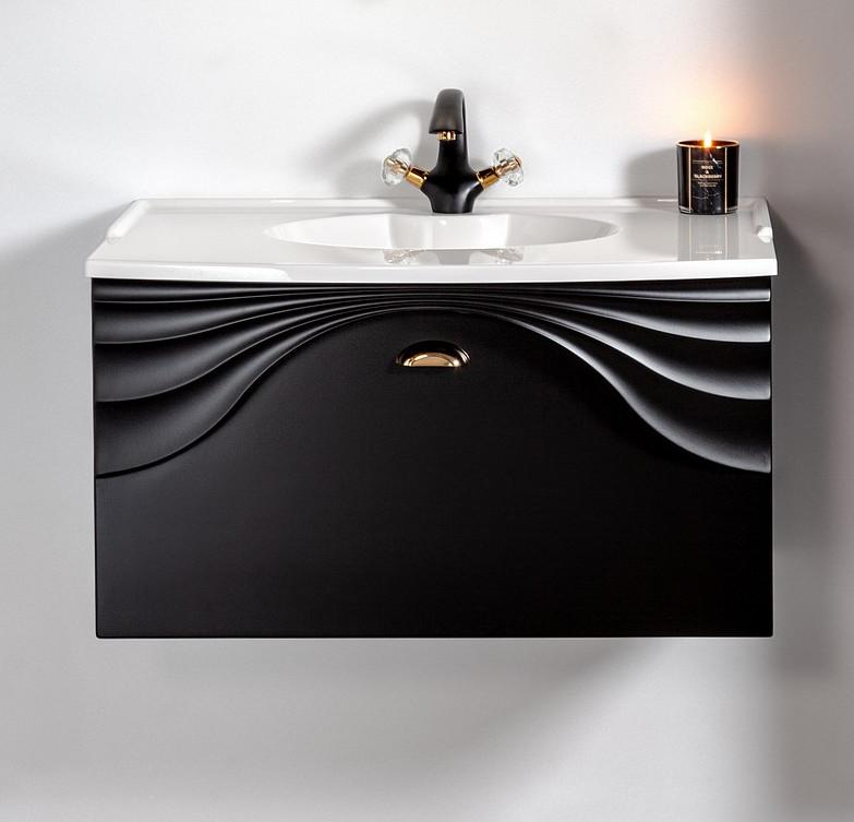 Szafka łazienkowa wisząca Sanitti Asso 80 cm czarna z uchwtem złoty połysk pod umywalkę lub blat