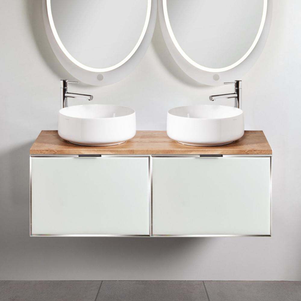 Szafki łazienkowe Sanitti Delta 2 x 60 cm kolor frontu biały z blatem dąb classic 120 cm