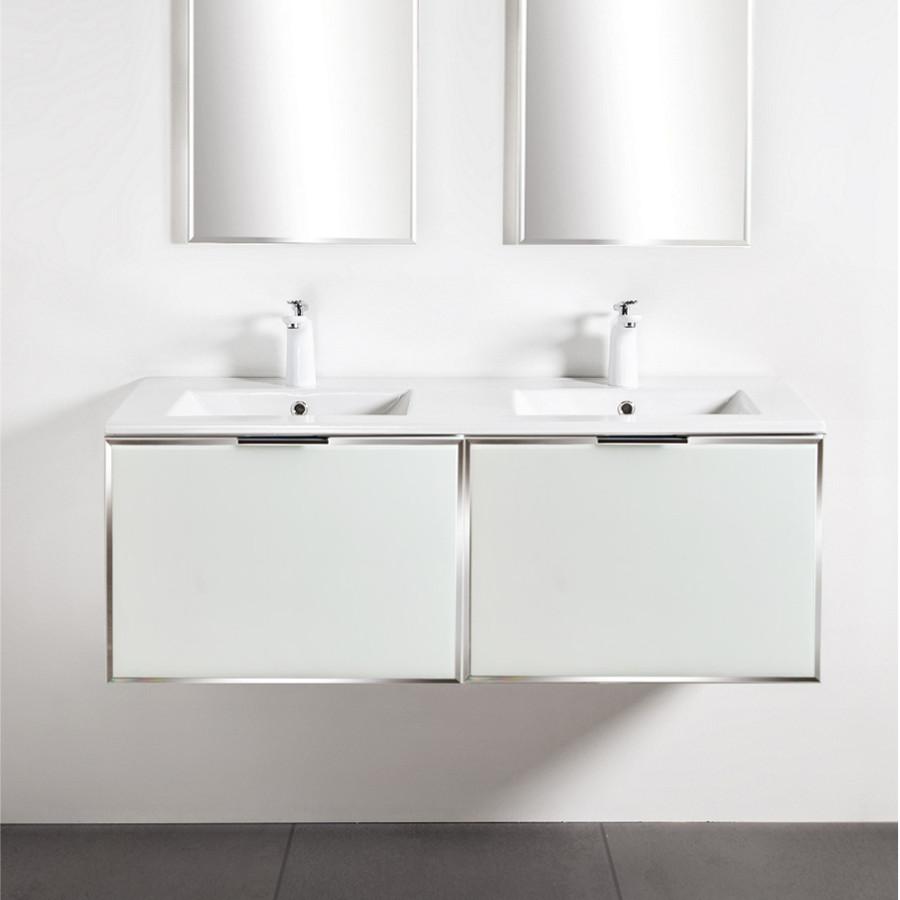 Szafki łazienkowe Sanitti Delta 2 x 60 cm kolor frontu biały z umywalką 120 cm UMW-120