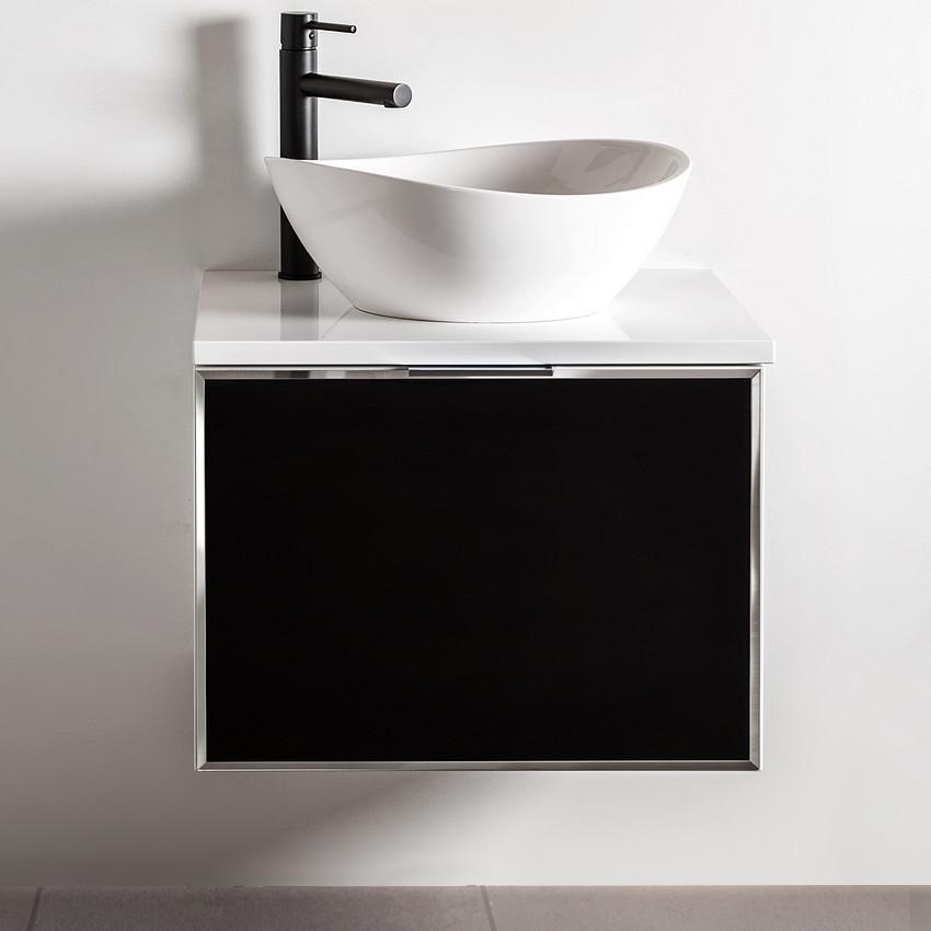 Szafka łazienkowa Sanitti Delta kolor frontu czarny 60 cm z blatem i umywalką TRE