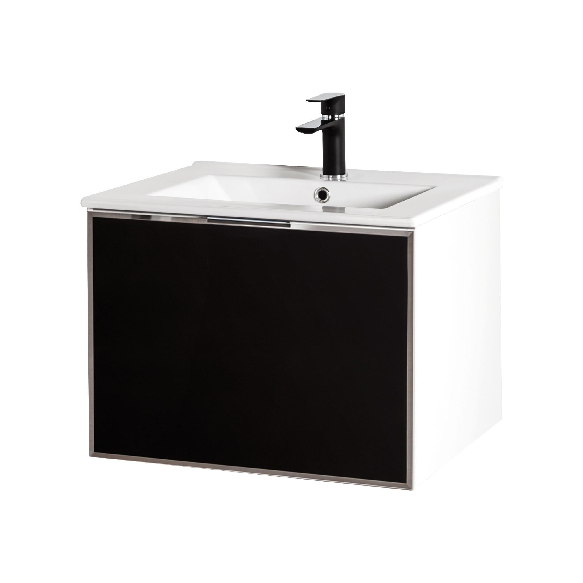 Szafka łazienkowa Sanitti Delta kolor frontu czarny 60 cm z umywalką UMW-60