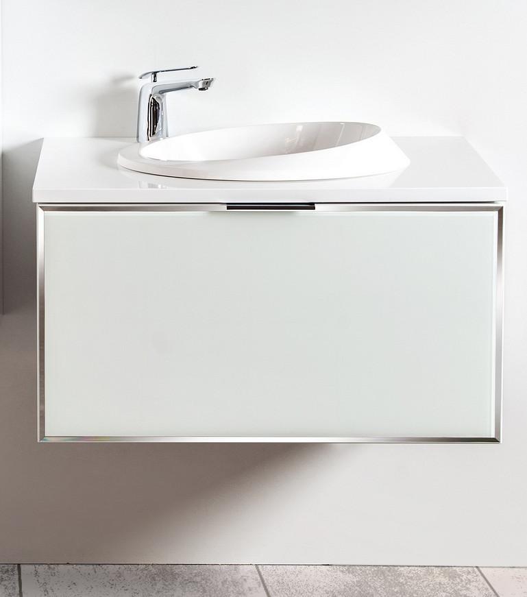 Szafka łazienkowa Sanitti Delta kolor frontu biały 80 cm z blatem i umywalką OTTO