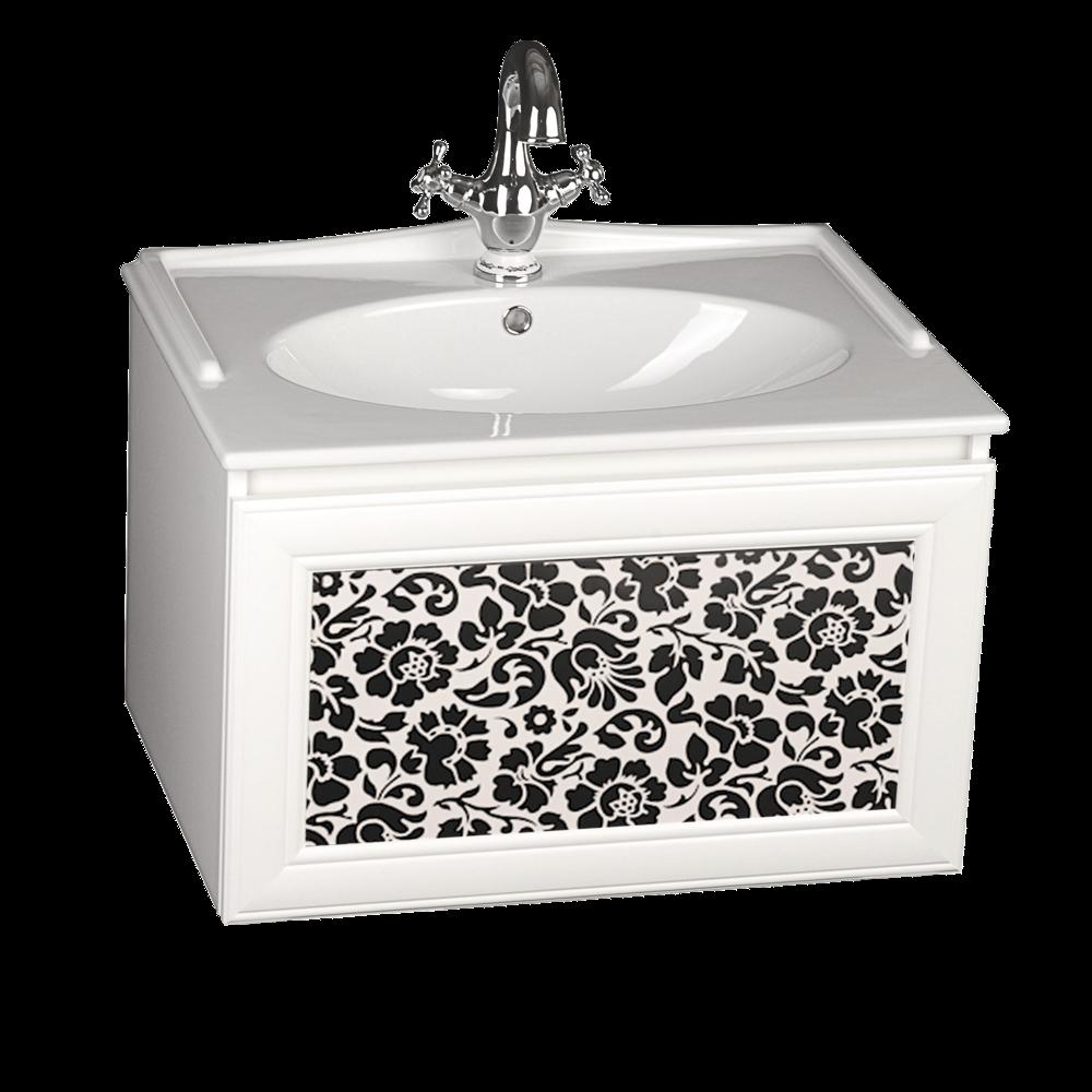 Szafka z umywalką z serii Sanitti Gamma z frontem w czarne kwiaty w białej ramie