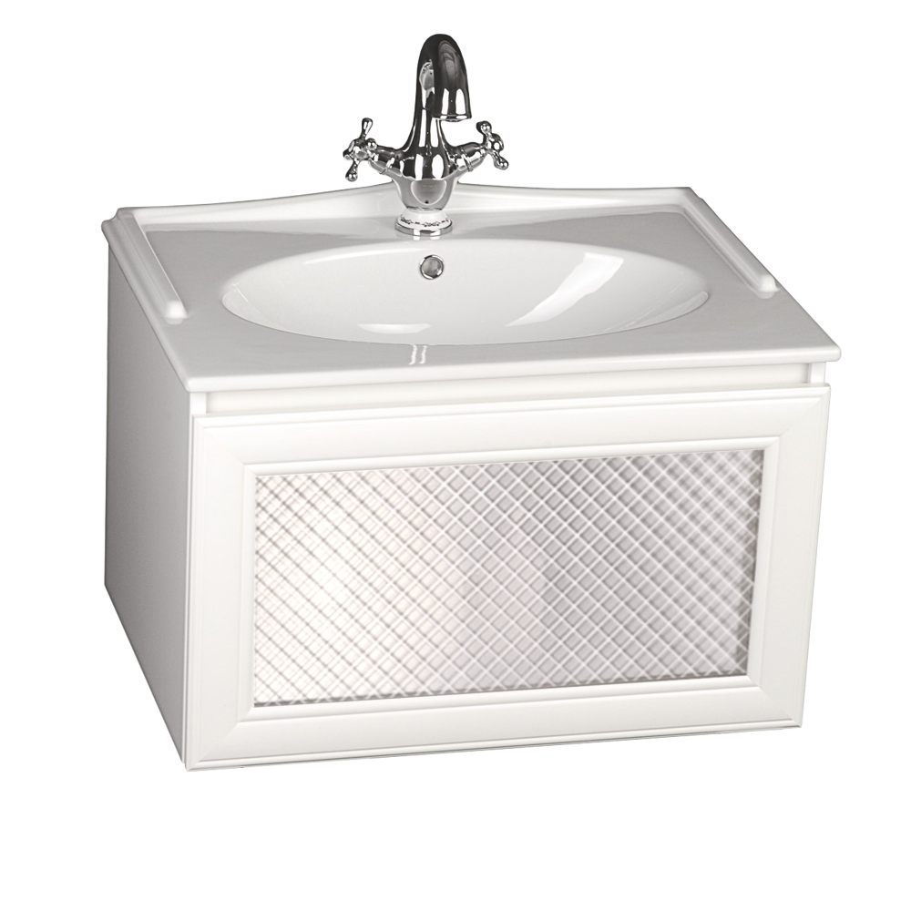 Szafka pod umywalkę Gamma z frontem ze szkłem matowym w białej matowej ramie z umywalką