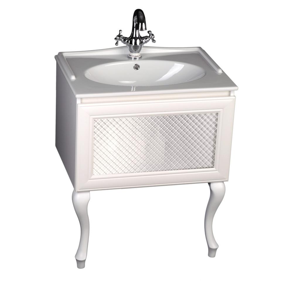 Szafka pod umywalkę Gamma z białymi lakierowanymi nóżkami oraz z frontem ze szkłem matowym w białej ramie z umywalką ceramiczną