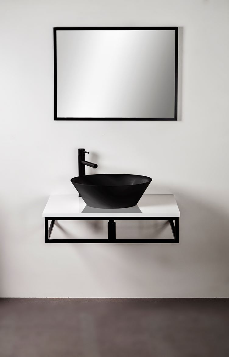 Konsola czarna aluminiowa pod blat lub umywalkę 80 cm