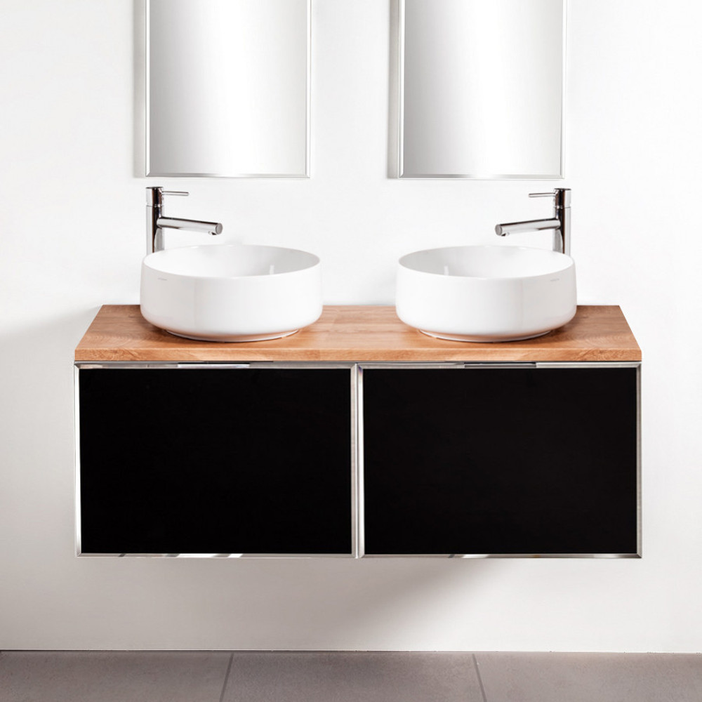 Szafki łazienkowe Sanitti Delta 2 x 60 cm kolor frontu czarny z blatem dąb classic 120 cm