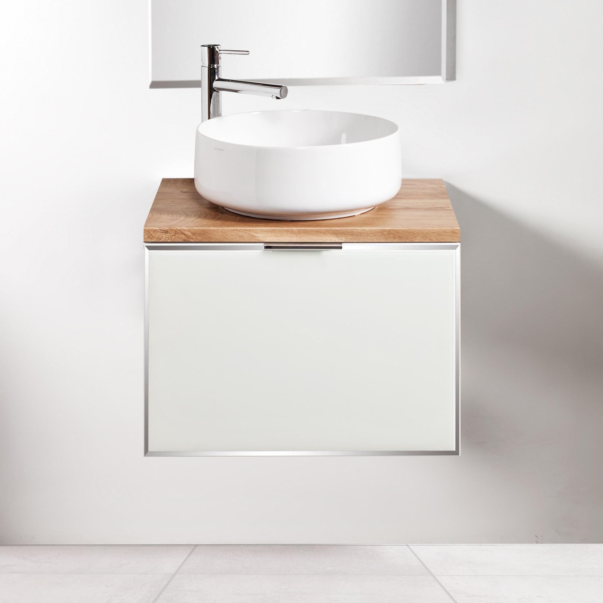 Szafka łazienkowa Sanitti Delta 60 cm kolor frontu biały z blatem dąb classic i umywalką Art-42