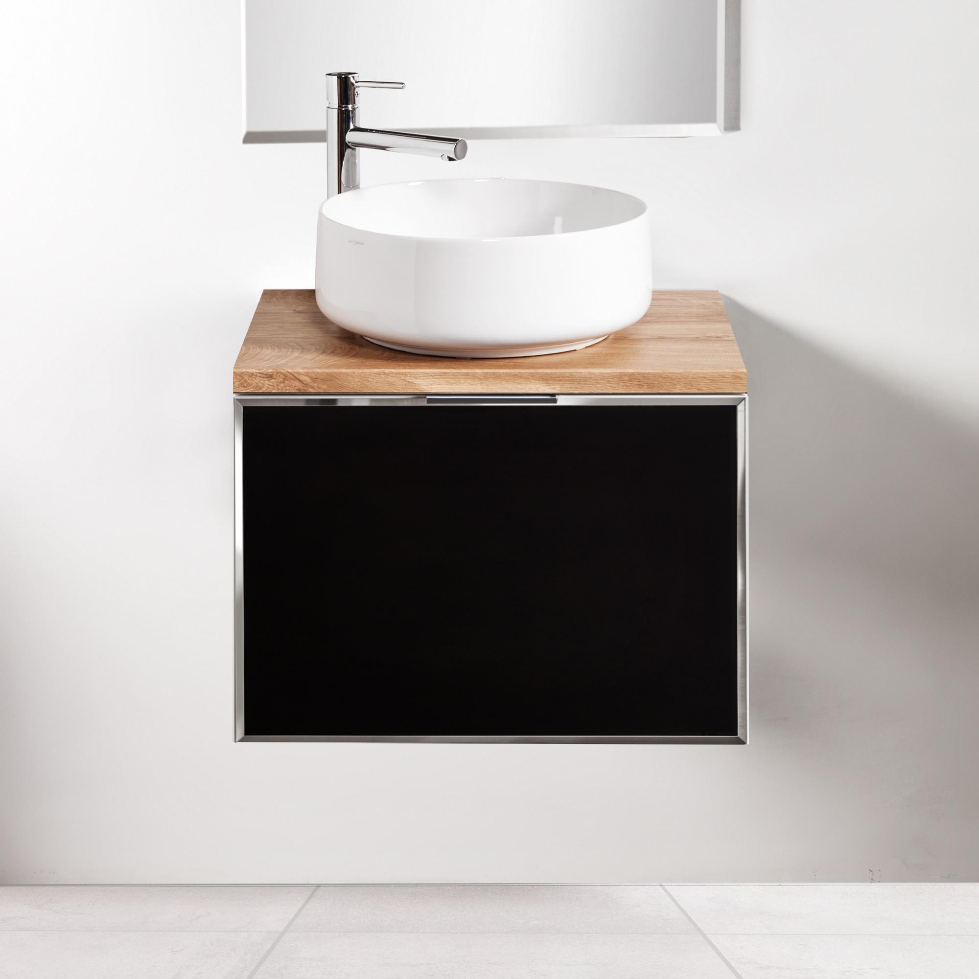 Szafka łazienkowa Sanitti Delta 60 cm kolor frontu czarny z blatem dąb classic i umywalką Art-42