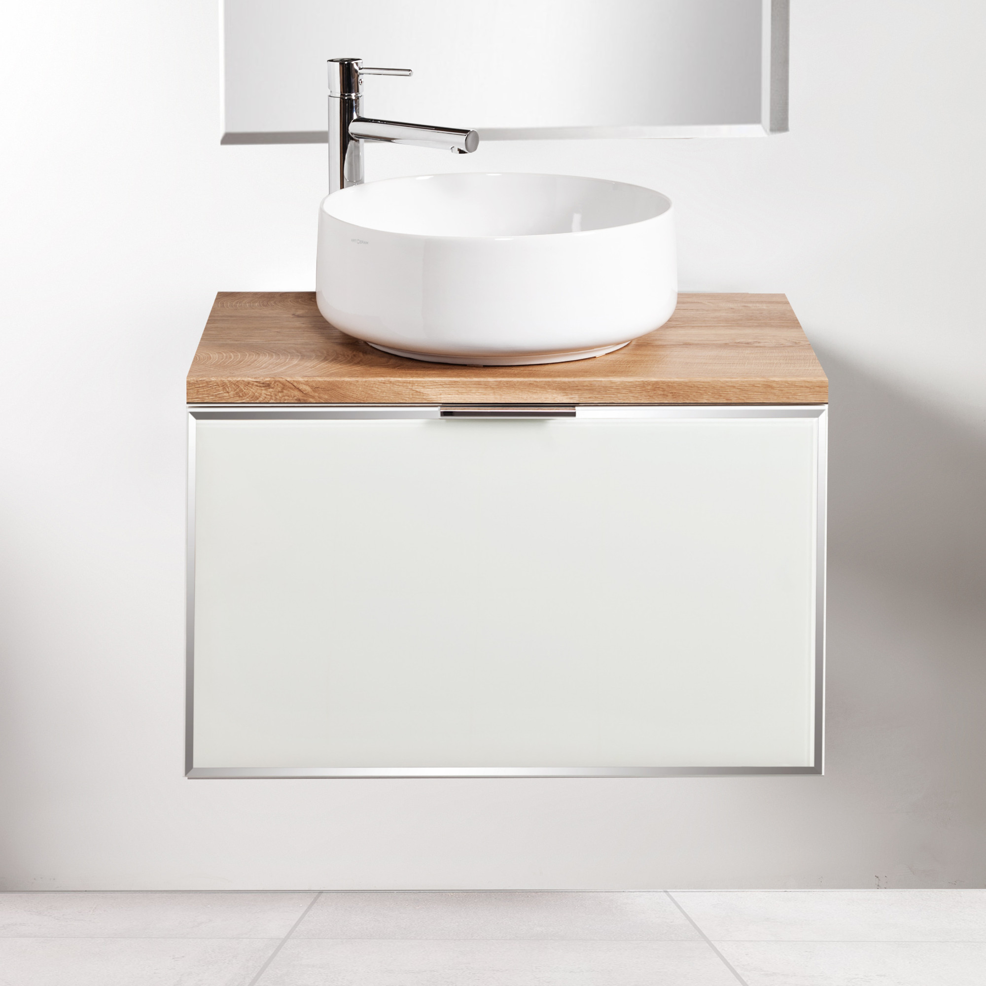 Szafka łazienkowa Sanitti Delta 70 cm kolor frontu biały z blatem dąb classic i umywalką Art-42