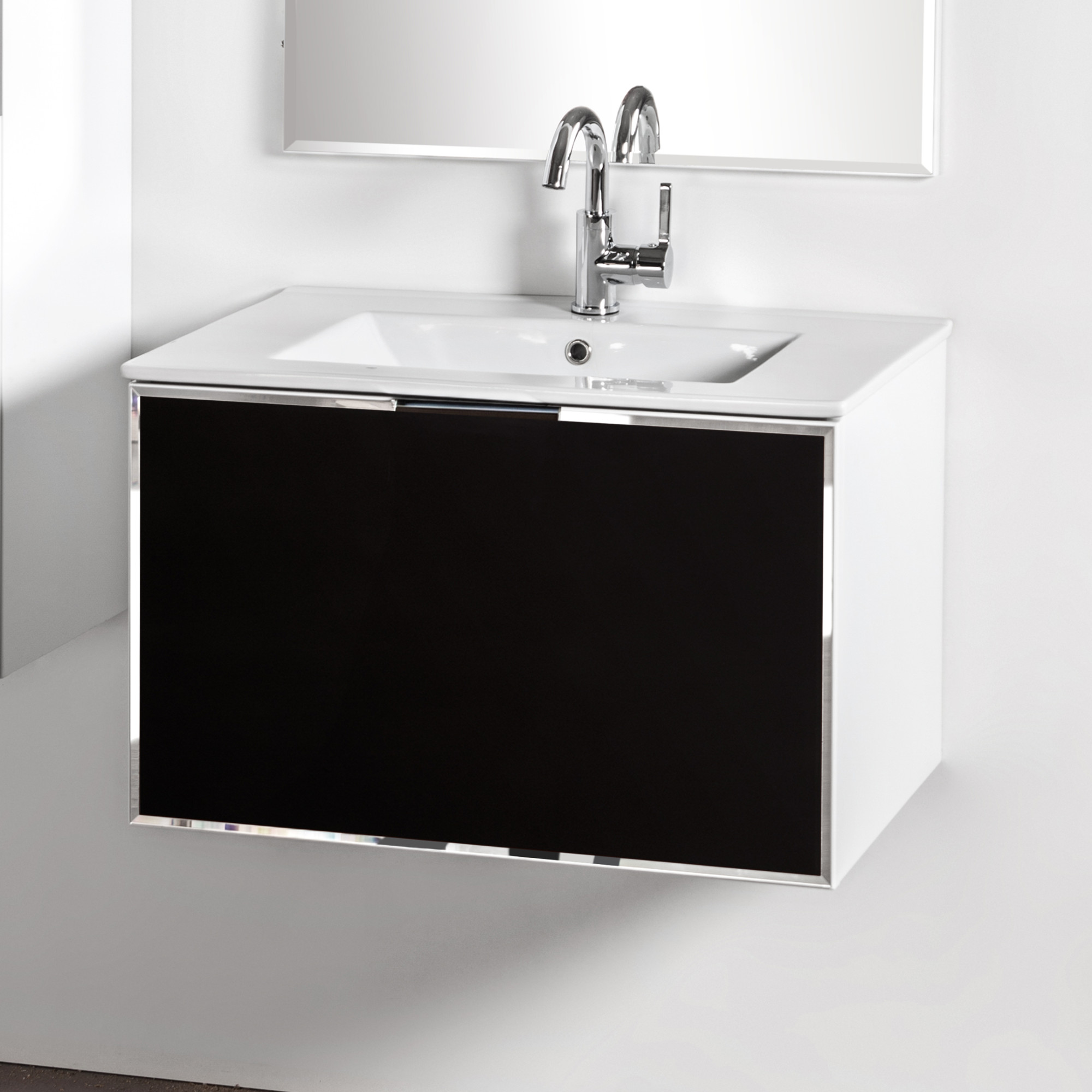 Szafka łazienkowa Sanitti Delta kolor frontu czarny 70 cm z umywalką UMW-70