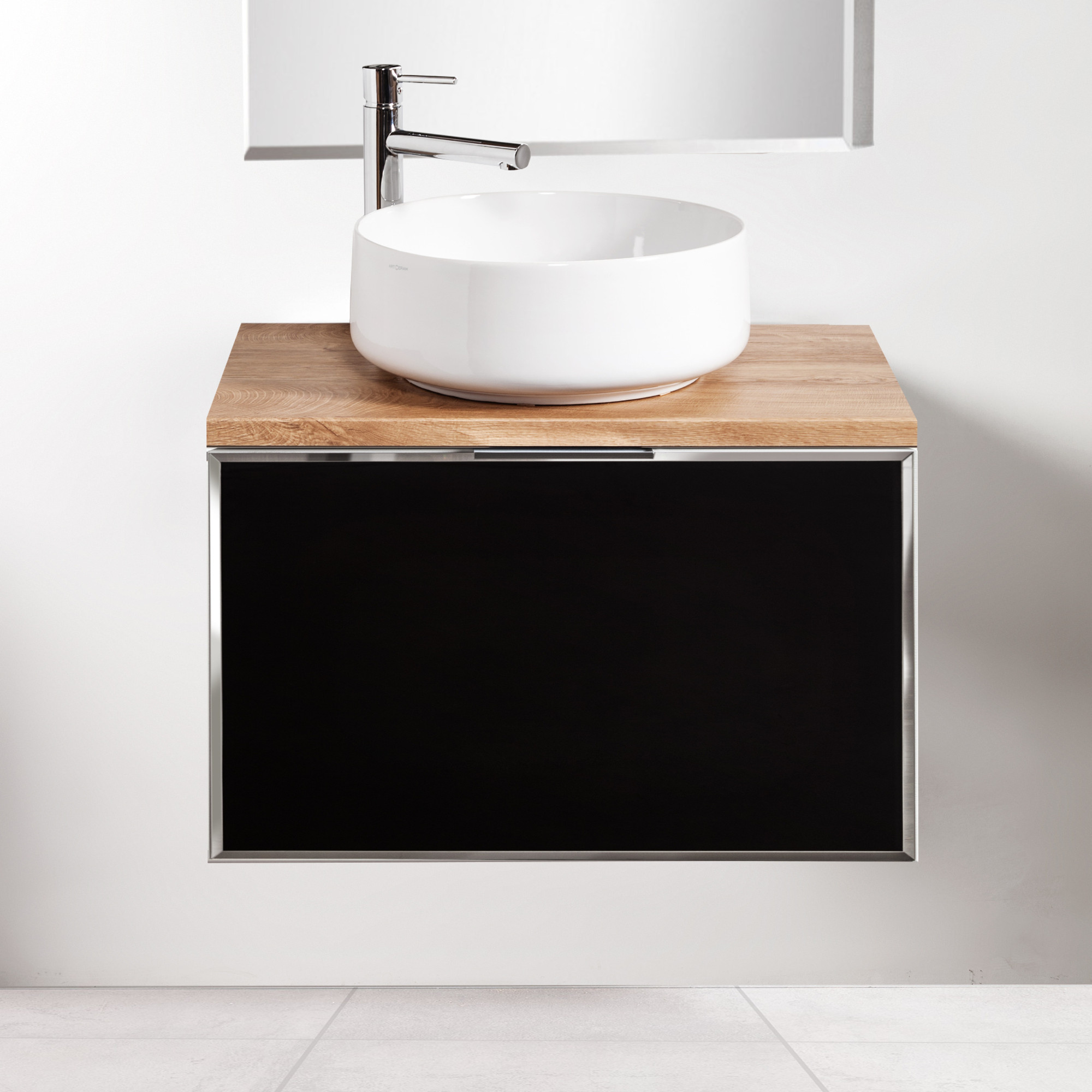 Szafka łazienkowa Sanitti Delta 70 cm kolor frontu czarny z blatem dąb classic i umywalką Art-42