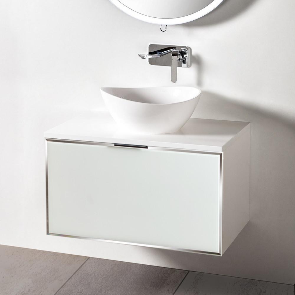 Szafka łazienkowa Sanitti Delta kolor frontu biały 80 cm z blatem i umywalką TRE