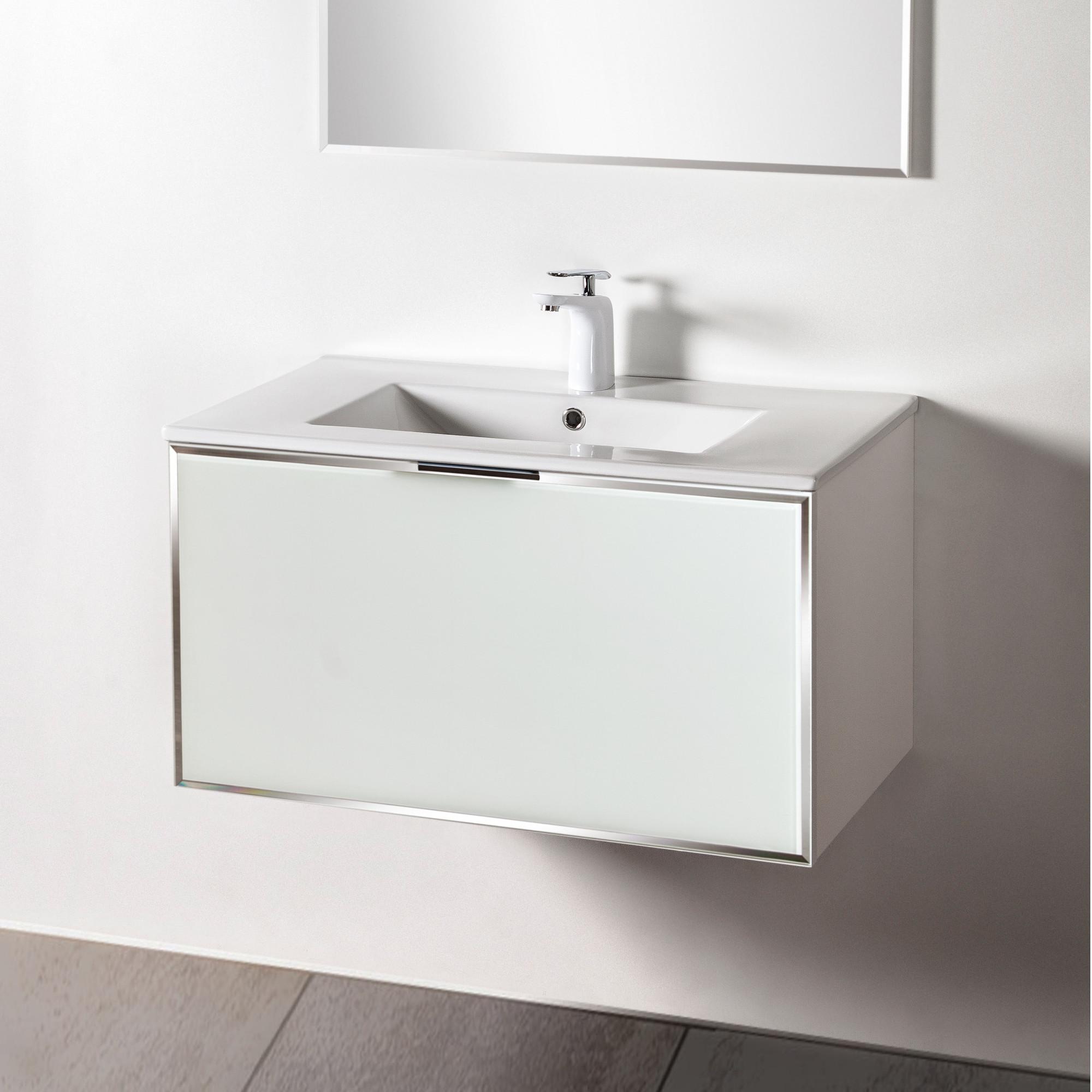 Szafka łazienkowa Sanitti Delta kolor frontu biały 80 cm z umywalką UMW-80