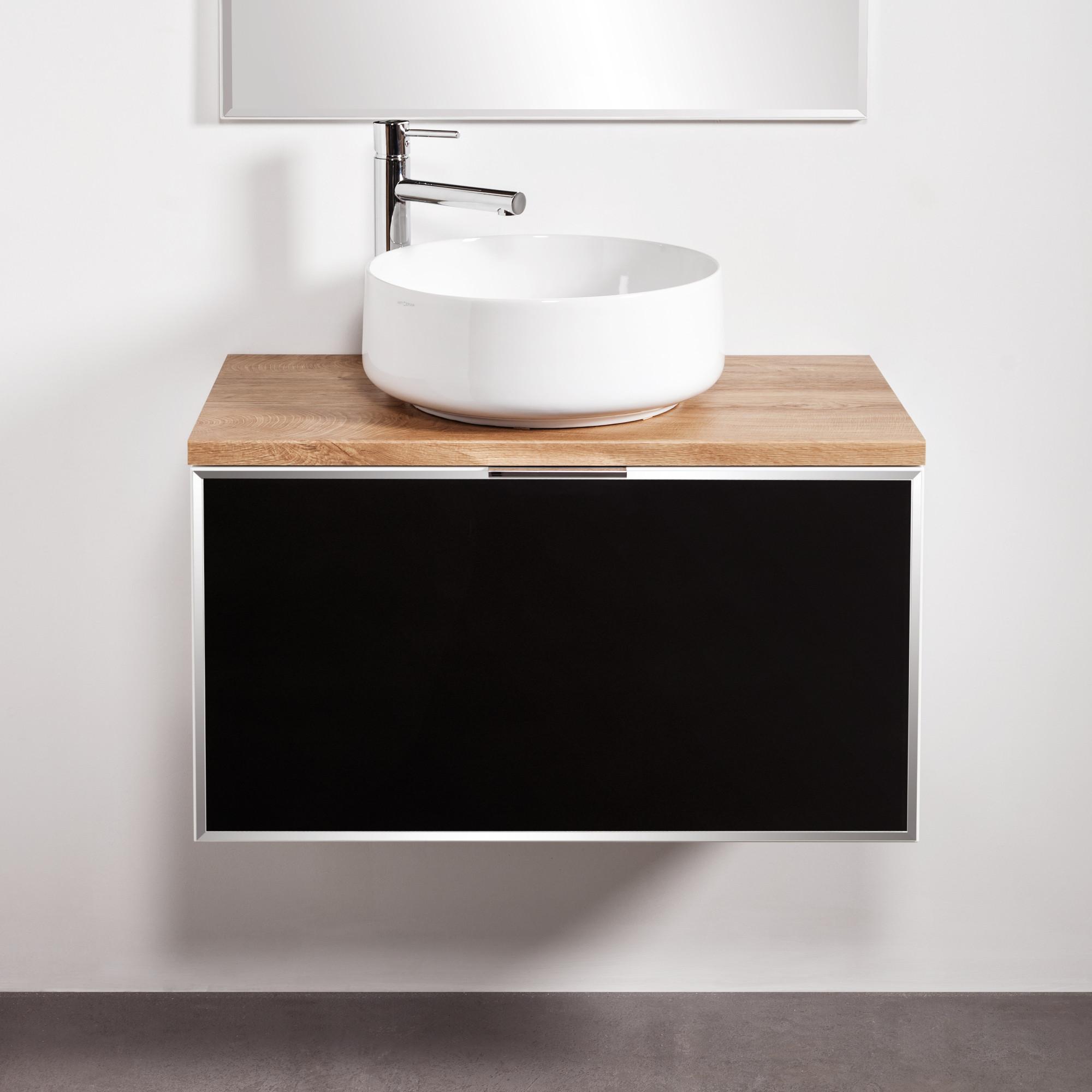 Szafka łazienkowa Sanitti Delta 80 cm kolor frontu czarny z blatem dąb classic i umywalką Art-42