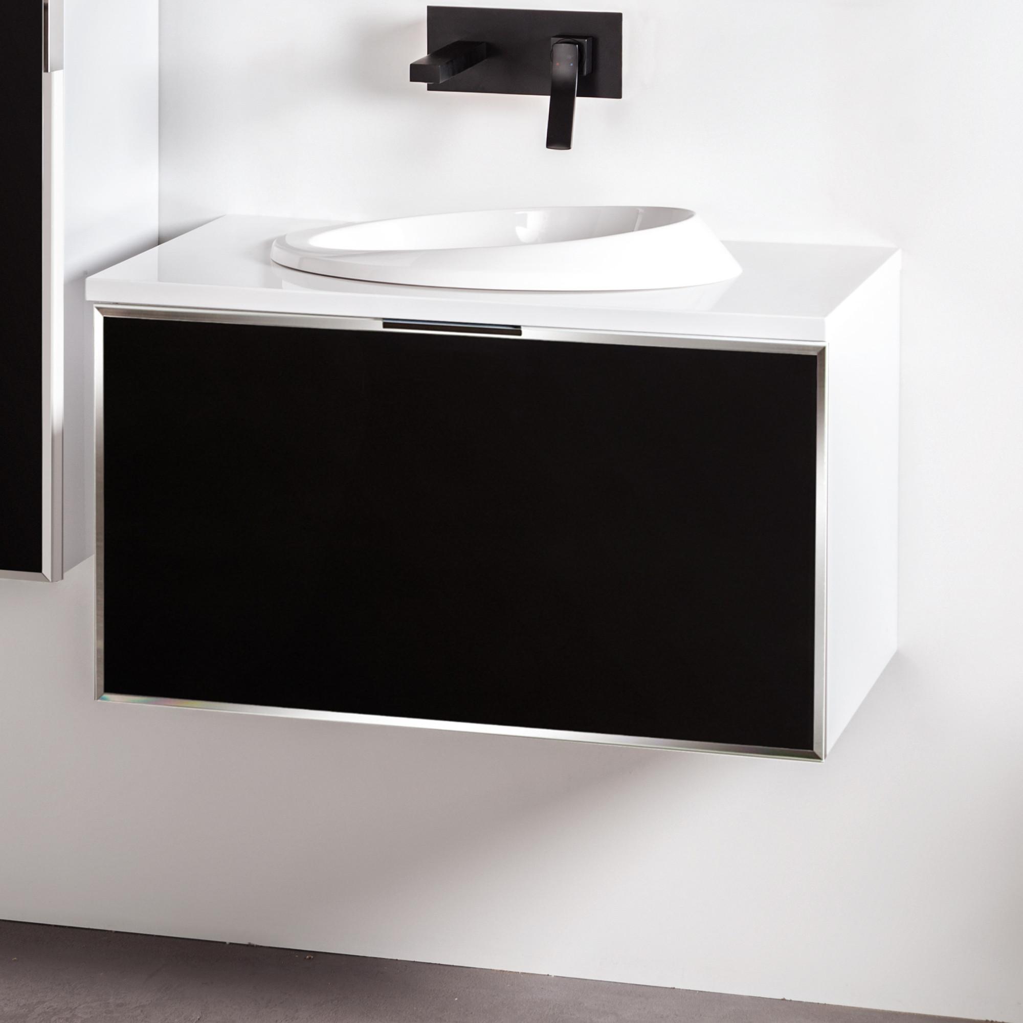 Szafka łazienkowa Sanitti Delta kolor frontu czarny 80 cm z blatem i umywalką OTTO