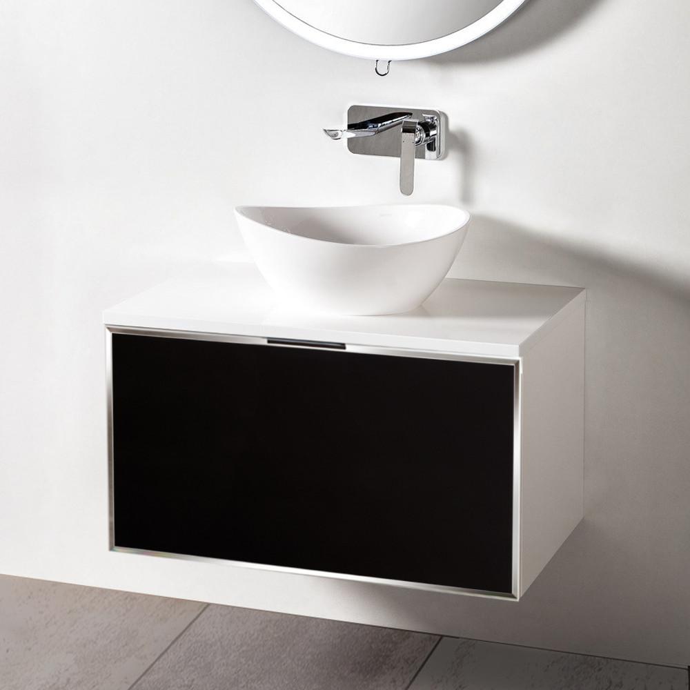 Szafka łazienkowa Sanitti Delta kolor frontu czarny 80 cm z blatem i umywalką TRE