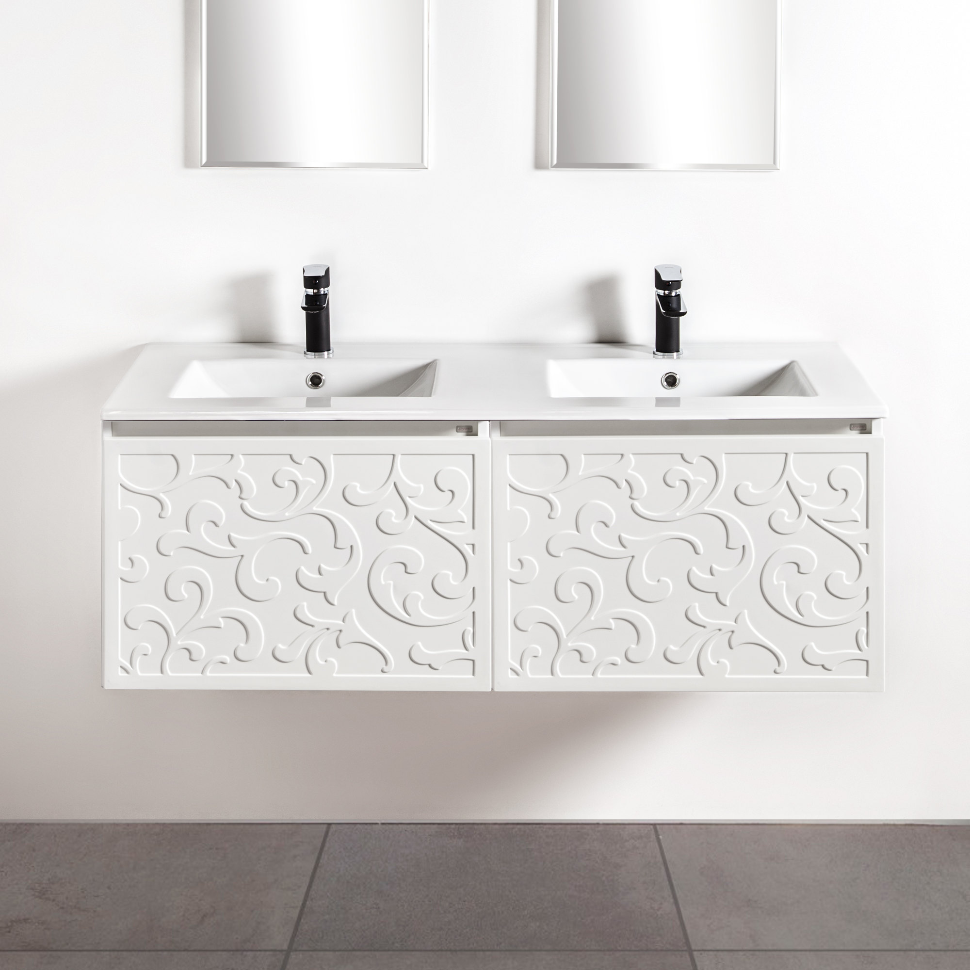 Szafki łazienkowe Sanitti Floro 2 x 60 cm z umywalką 120 cm UMW-120