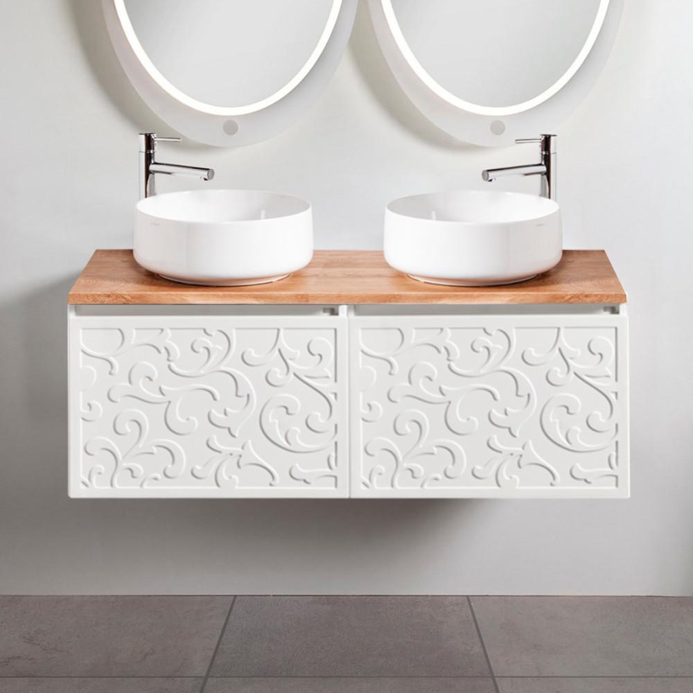 Szafki łazienkowe Sanitti Floro 2 x 60 cm z blatem dąb classic 120 cm