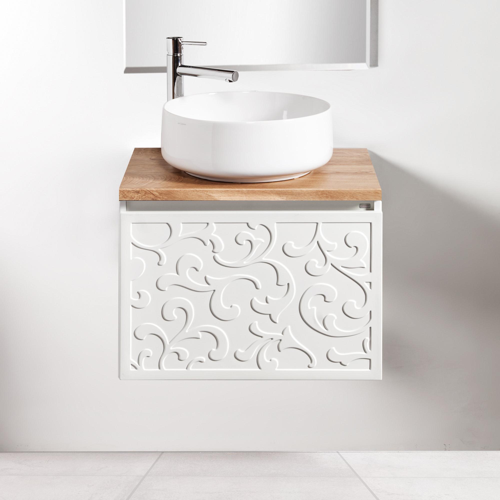 Szafka łazienkowa Sanitti Floro 60 cm z blatem dąb classic i umywalką Art-42