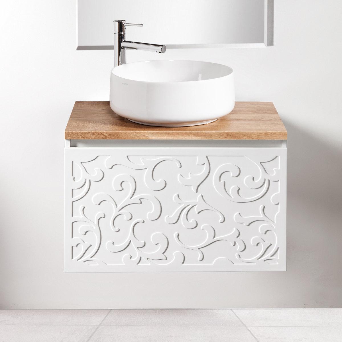 Szafka łazienkowa Sanitti Floro 70 cm z blatem dąb classic i umywalką Art-42