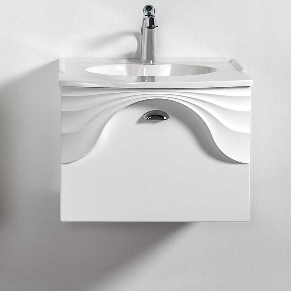 Szafka łazienkowa wisząca pod umywalkę lub blat Sanitti Asso 60 biała z uchwtem chrom połysk
