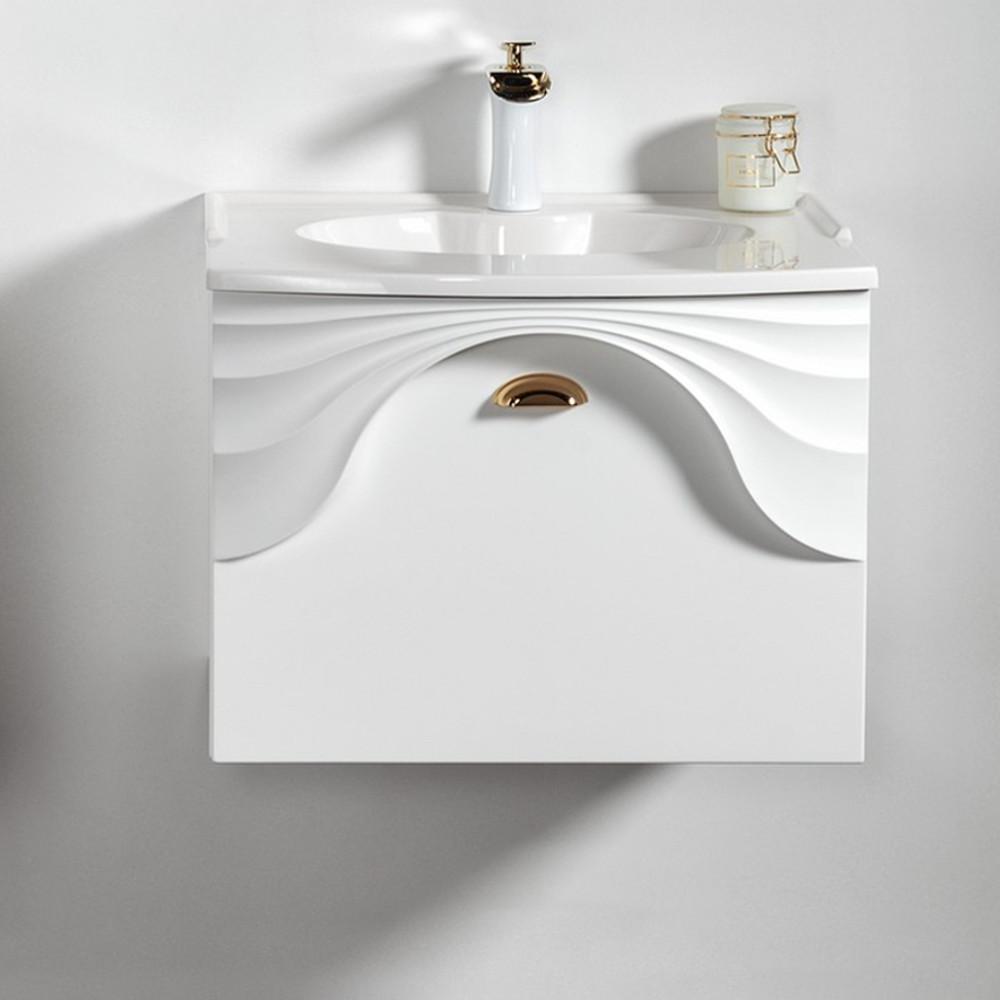 Szafka łazienkowa Sanitti Asso 60 biała z uchwtem złoty połysk wisząca pod umywalkę lub blat