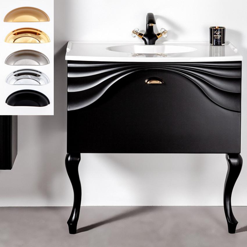 Czarna szafka łazienkowa z nóżkamia retro Sanitti Asso 80 cm wisząca pod umywalkę lub blat